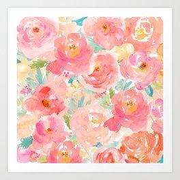 Preppy Pink Peonies Art Print