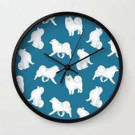 Samoyed Pattern (Blue Background) Wall Clock