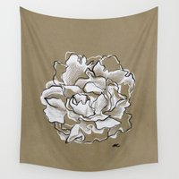peony Wall Tapestries featuring Peony by Mich Li