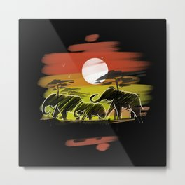 Elephant Lovers Africa Metal Print