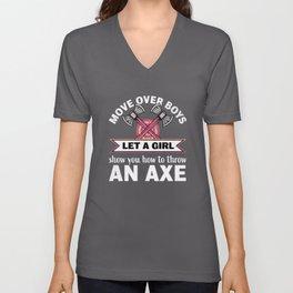 Let a Girl show you how to throw an Axe Unisex V-Neck