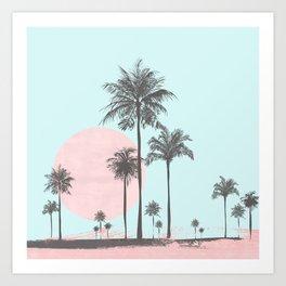Beachfront palm tree soft pastel sunset graphic Art Print