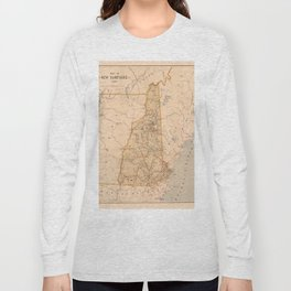 Map Of New Hampshire 1890 Long Sleeve T-shirt