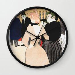 Henri Toulouse Lautrec / Au Moulin Roug, la Goulue et sa soeur Wall Clock