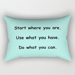 Start where you are - Arthur Ashe - mint green print Rectangular Pillow
