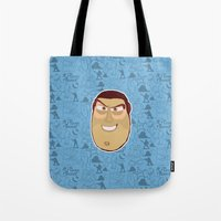 buzz lightyear Tote Bags featuring Buzz Lightyear - Toy Story by Kuki