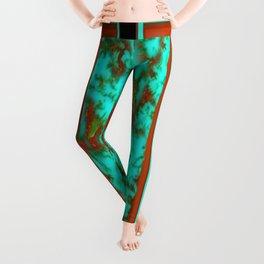 Black-Brown Turquoise December Birthstone Design. Leggings