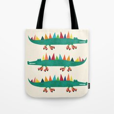 Crocodile on Roller Skates Tote Bag
