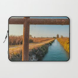 Bridge over an irrigation channel of the Lomellina at sunset Laptop Sleeve