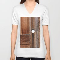 cabin V-neck T-shirts featuring Cabin Door by Leland D Howard