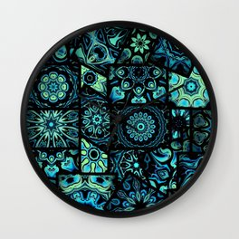 Patchwork in Blues Wall Clock