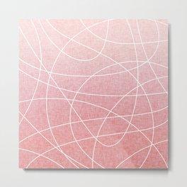Scribble Linen - Blush Pink Metal Print
