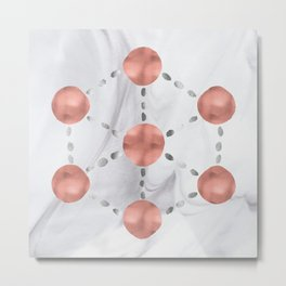 Sacred Geometry in Watercolor Rose Gold Metal Print