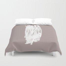Simple Minimalistic White Brushtrokes on Beige Duvet Cover