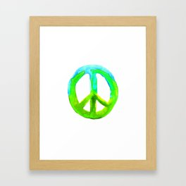 Watercolor Tie Dye Peace Sign Turquoise Lime on White Framed Art Print