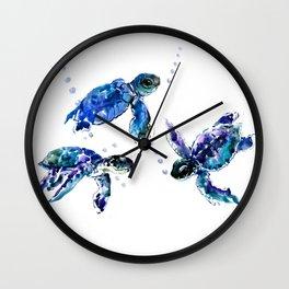 Three Sea Turtles, Marine Blue Aquatic design Wall Clock