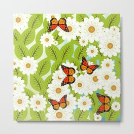 Daisies and butterflies Metal Print