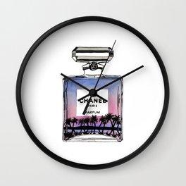 paradise palm tree perfume fashion illustration  Wall Clock