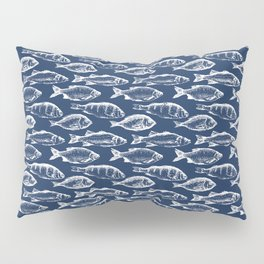 Fish // Navy Blue Pillow Sham