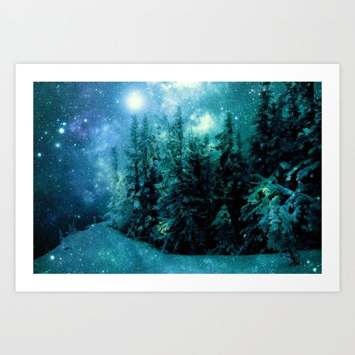 Galaxy Winter Forest Blue Teal Art Print