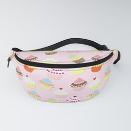 Baby Pink Valentines Cup Cakes Fanny Pack