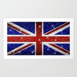 Glitters Shiny Sparkle Union Jack Flag Art Print
