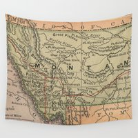 montana Wall Tapestries featuring Vintage Map of Montana (1885) by BravuraMedia