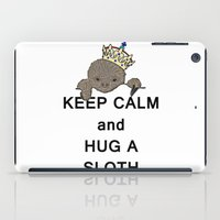 meme iPad Cases featuring Keep Calm and Hug a Sloth with Crown Meme by The Eclectic Mind