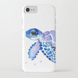 Blue Purple Sea Turtle, Turtle for nursery iPhone Case