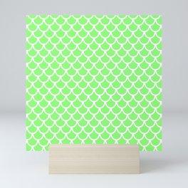 Scales (White & Light Green Pattern) Mini Art Print