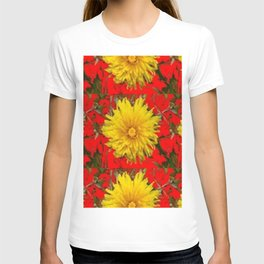 YELLOW DANDELION BLOSSOMS ON RED ORGANIC ART T-shirt