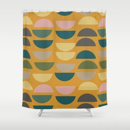 Geometric Graphic Design Shapes Pattern In Mustard Yellow Shower Curtain