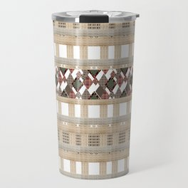 Boho . Beige woven textiles . Travel Mug