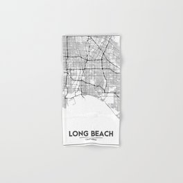 Minimal City Maps - Map Of Long Beach, California, United States Hand & Bath Towel