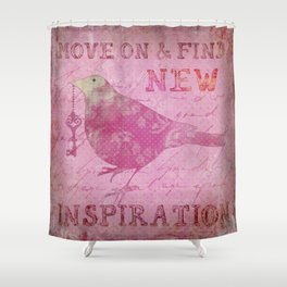 Move on pink Inspirational Typography and Bird Collage Shower Curtain