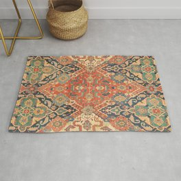 Geometric Leaves VII // 18th Century Distressed Red Blue Green Colorful Ornate Accent Rug Pattern Rug