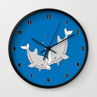 dolphins Wall Clocks featuring Dolphins by joanfriends
