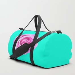 pink rose with green background Duffle Bag