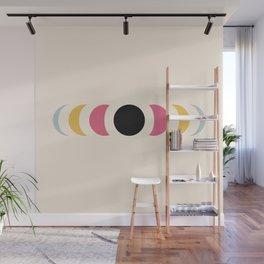 Abstract Minimal Colorful Summer Retro Style Moon Phase - Chikashizu Wall Mural