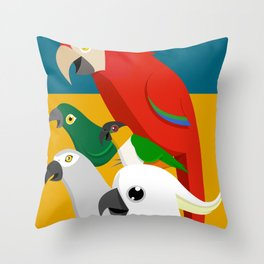 Loud Parrots Throw Pillow