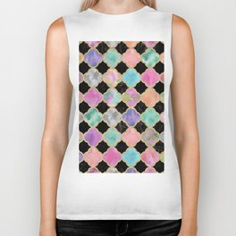 Colorful black watercolor faux gold glitter quatrefoil Biker Tank