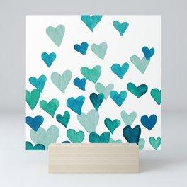 Valentine's Day Watercolor Hearts - turquoise Mini Art Print