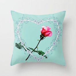 Heart with pink rose Throw Pillow