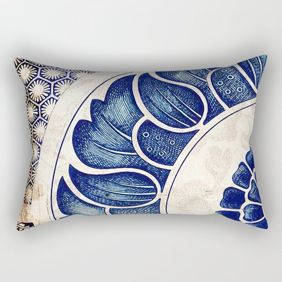 Blue Oriental Vintage Tile 05 Rectangular Pillow