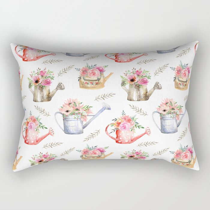 Garden watering cans and flowers. Vintage pattern Rectangular Pillow