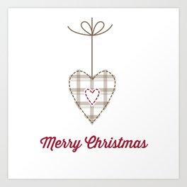 Christams heart white Art Print