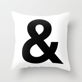 Ampersand Black and White Helvetica Typography Design Poster Home Decor Wall Art Scandinavian Decor Throw Pillow