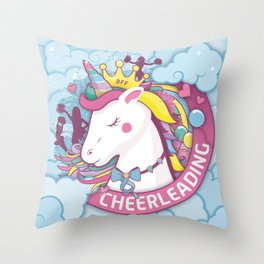 Cheerleader Gift with Unicorn Horn Bows and Love Hearts Throw Pillow