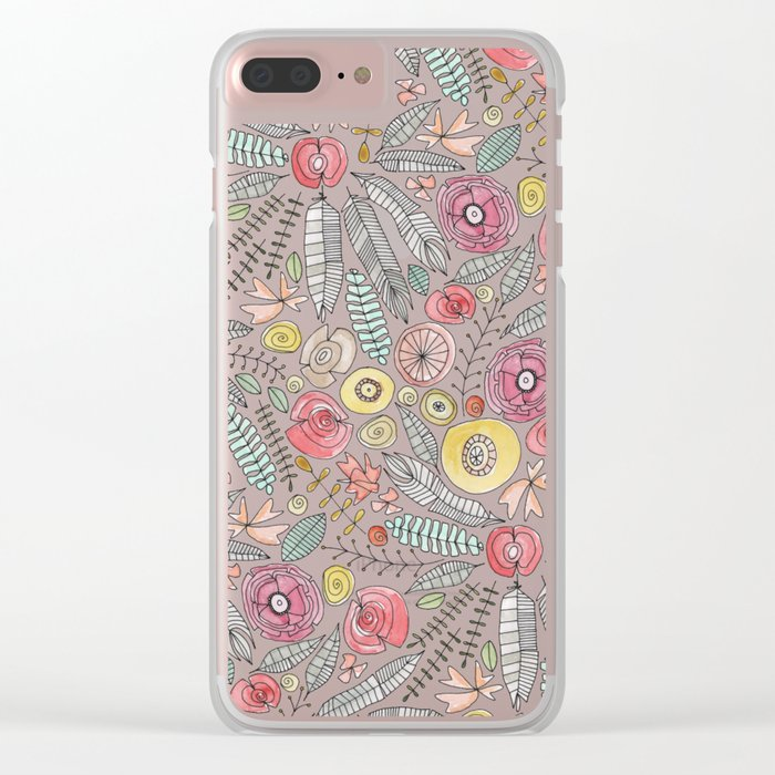 feather fleur watercolor Clear iPhone Case