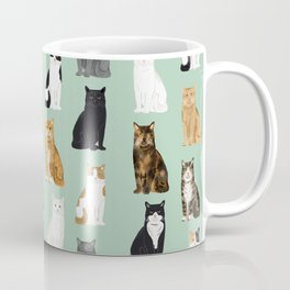 Cat breeds pattern kitty kittens cats tabby siamese white tortoiseshell Coffee Mug